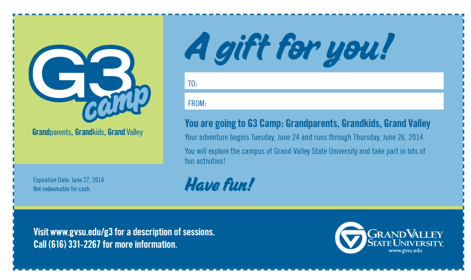 Sample gift certificate from parent to child or grandparent